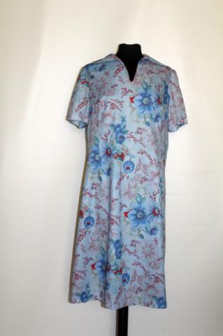 Rochie vintage din poliester bleu flori anii '70