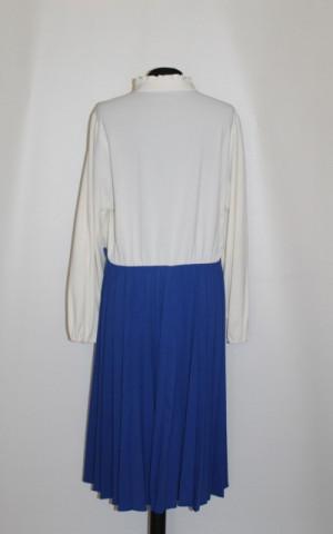 Rochie vintage fusta plisata albastru cerneala anii '70