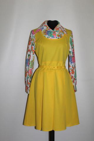 Rochie vintage galbena cu suprapunere tip sarafan anii '60