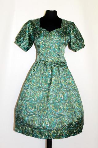 Rochie vintage print abstract verde anii '50