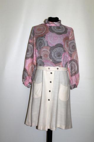 Rochie vintage print floral stilizat si fusta din jerse anii '60