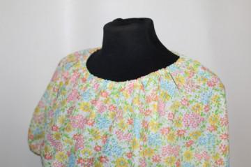 Rochie vintage print flori galbene si roz anii '60 - '70