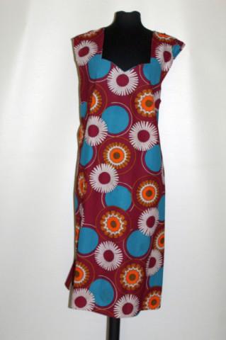 Rochie vintage print margarete și cercuri anii 60