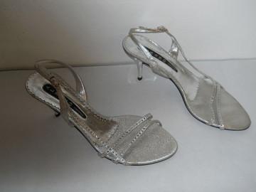 Sandale retro din lurex argintiu anii '80