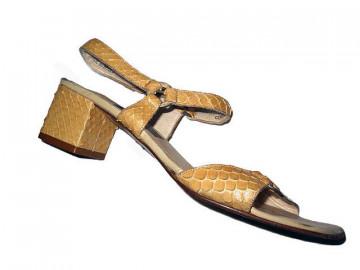 "Sandale vintage ""Bally"" din piele de anaconda anii '70"