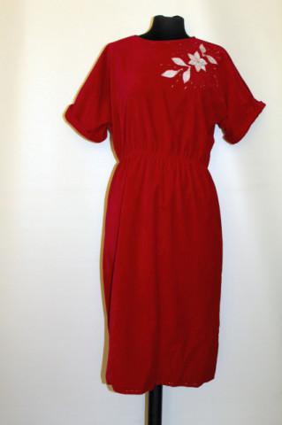 Rochie din catifea panne roșie anii 70 - 80