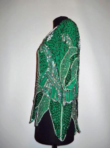 Bluza din matase naturala broderie florala din margele anii '70
