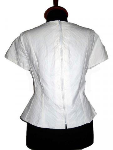 Bluza vintage alba din poplin gofrat anii '50