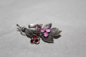 Broșă buchet cristale roz și roșii perioada edwardiană cca. 1910