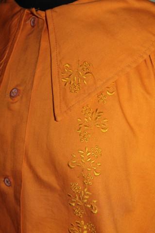 Cămașă portocalie broderie florală anii 70