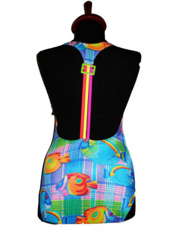 Costum de baie retro print pesti anii '80