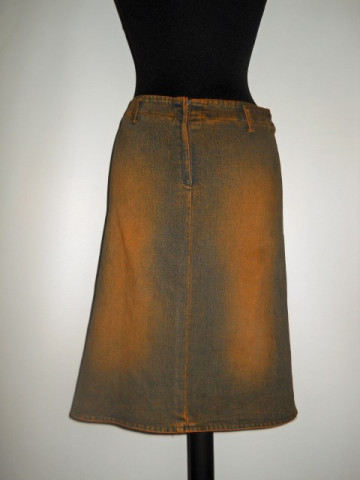 Fusta din jeans aplicatii florale repro anii '70