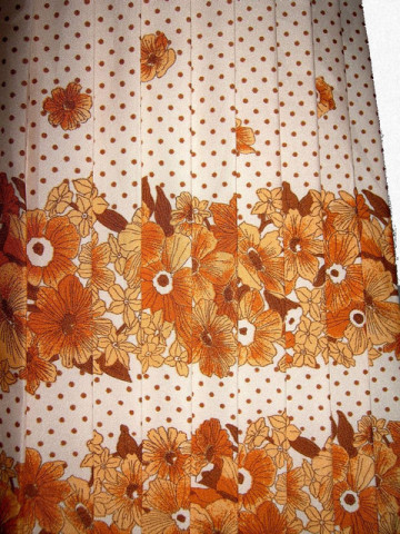 Fusta vintage plisata flori maro anii '70