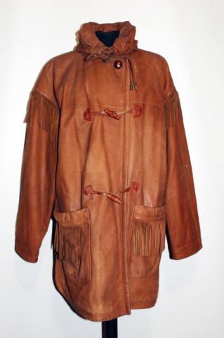 Haina vintage din piele cu franjuri anii '70 - '80