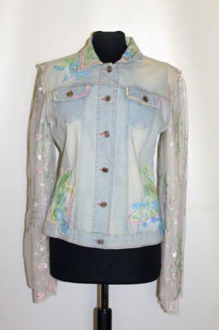 Jachetă din denim și tuille brodat anii 90