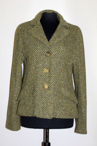 Jachetă din stofă herringbone verde repro anii 70