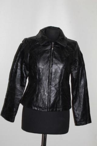 Jachetă patchwork din piele naturală neagră anii 90