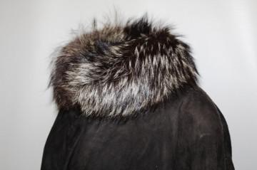 Palton din piele intoarsa si blana de vulpe anii '80