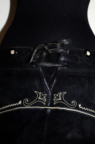 Pantaloni tirolezi din piele intoarsa neagra anii '80