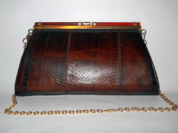 Poseta vintage din piele de sarpe cu ornamente din bachelita anii '60