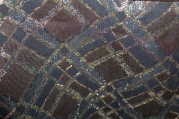 Rochie de seară maro model geometric lurex anii 70