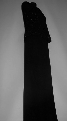 Rochie de seara neagra cu suprapuneri anii '90