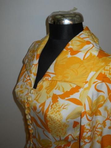 Rochie de seara vintage din matase naturala cu flori portocalii anii '60