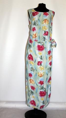 Rochie maxi flori pe fond verde apa anii '80