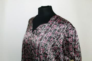 Rochie print abstract roz si lila anii '60