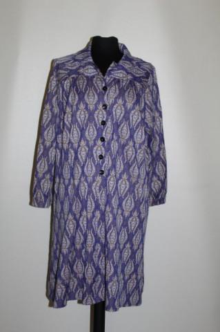 Rochie print floral stilizat pe fond violet anii '70