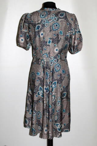 Rochie vintage din mătase naturală print paisley albastru anii 60