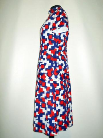 Rochie vintage mod print rosu cu albastru anii '60