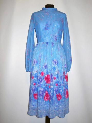 Rochie vintage print floral si pliseuri marunte anii '70