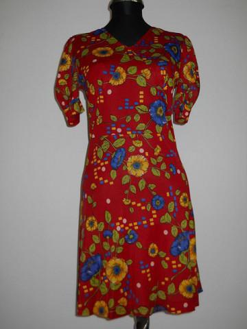 Rochie rosie print floral albastru electric anii '60