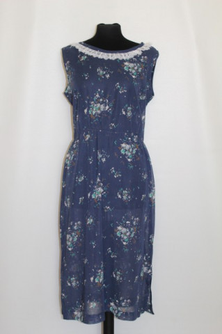Rochie print floral pe fond albastru petrol anii '50