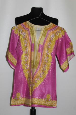 Bluză hippie roz cu galben anii 70