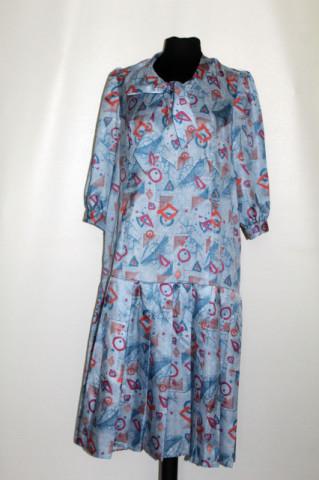 Rochie fond albastru marmorat anii 70