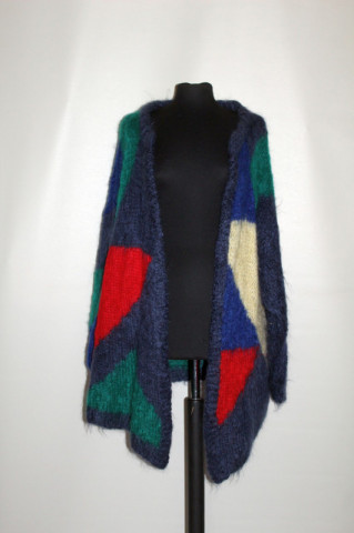Cardigan din mohair model geometric anii 80