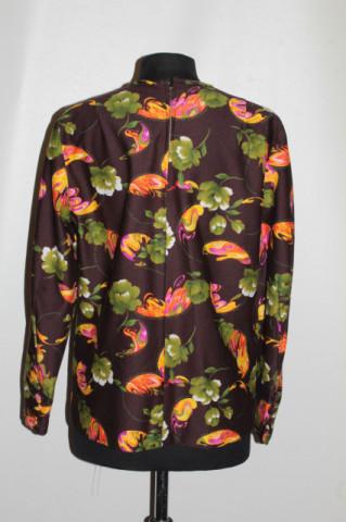 Bluză print floral verde anii 70