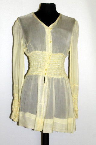 Bluza vintage din crepe georgette galben anii '30