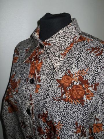 Camasa print floral maro anii '70