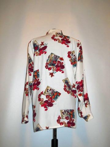 Camasa retro print floral rosu anii '80
