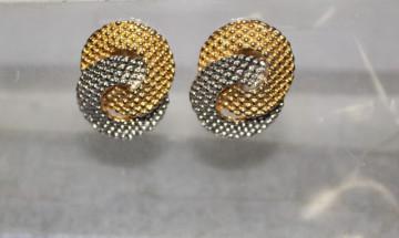 Cercei vintage auriu cu argintiu anii '70