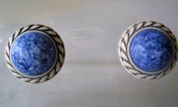 Cercei vintage marmorati albastri anii '60