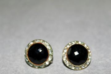 Cercei vintage sticla neagra si cristale anii '40