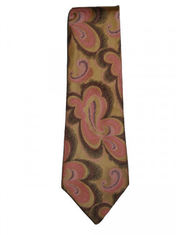 Cravata vintage din brocart roz anii '70