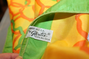 "Esarfa vintage ""Glentex"" galben si portocaliu anii '60"