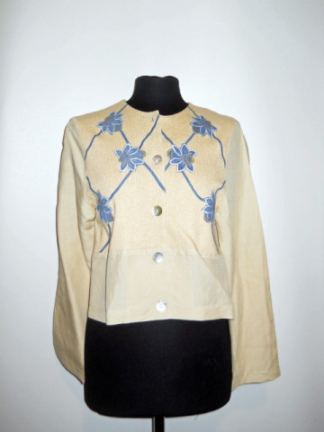 Jacheta din in cu flori aplicate anii '90