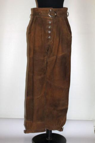 Pantaloni tirolezi din piele întoarsă anii 80
