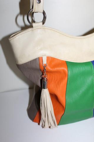 Poșetă dungi multicolore repro anii 80